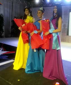 The Top 3 (left-to-right): 1st Runner-Up Lizl Louise Resoles, Miss Aviation Philippines Cleo Margaret Brown and 2nd Runner-Up Mica Angela Angeles