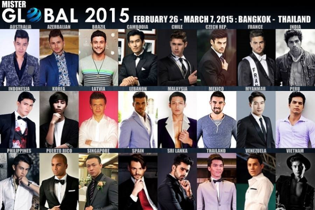 The confirmed candidates of Mister Global 2015 so far