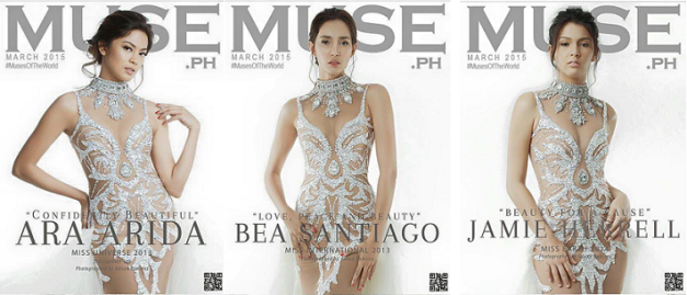 The March 2015 issue of Muse Magazine has three different covers (left to right): Ara Arida, Bea Rose Santiago and Jamie Herrell.