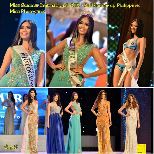 Athena Catriz placed 3rd Runner--Up and was named Miss Photogenic during the finals of Miss Summer International 2015