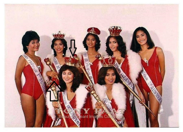 During the 1984 Bb. Pilipinas, there was a switching between Bb. Pilipinas-International Catherine Jane Brummitt (seated front, left) and Miss Maja Pilipinas Maria Bella Nachor (standing back, 2nd from left), but only of contests they were sent to. (Photo credit: Tony Paat)