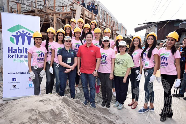 The Binibinis do the Habitat for Humanity & Women Build Event together with Miss Universe 1973 Margie Moran (in dark blue tops) and Atty. Adel Tamano, VP for  Public Affairs and Communications for Coca-Cola Philippines (in red shirt)