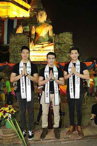 Joseph (middle) with Misters Vietnam (left) and Thailand