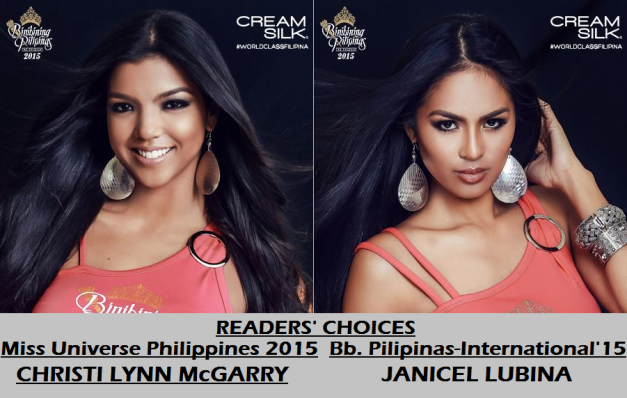 Readers' Choices for the top Bb. Pilipinas 2015 titles