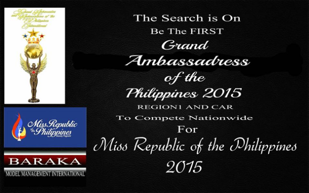 Grand Ambassadress of the Philippines for Region 1 and CAR is a regional search for Miss Republic of the Philippines