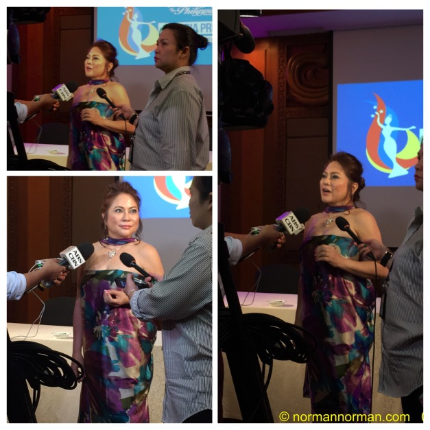 Ms. Lynette Padolina being interviewed by the TV networks who covered the Media Launch