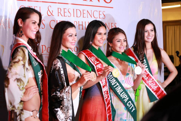 Winners of the Pontefino event of Miss Philippines Earth 2015 are (left to right): Chanel Olive Thomas, Miss Pontefino Residences; Jona Sweett, Bronze, Resort Wear; Angelia Ong, Gold, Resort Wear; Danica Ebrada, Silver, Resort Wear and Diana Mackey, Miss Pontefino Hotel