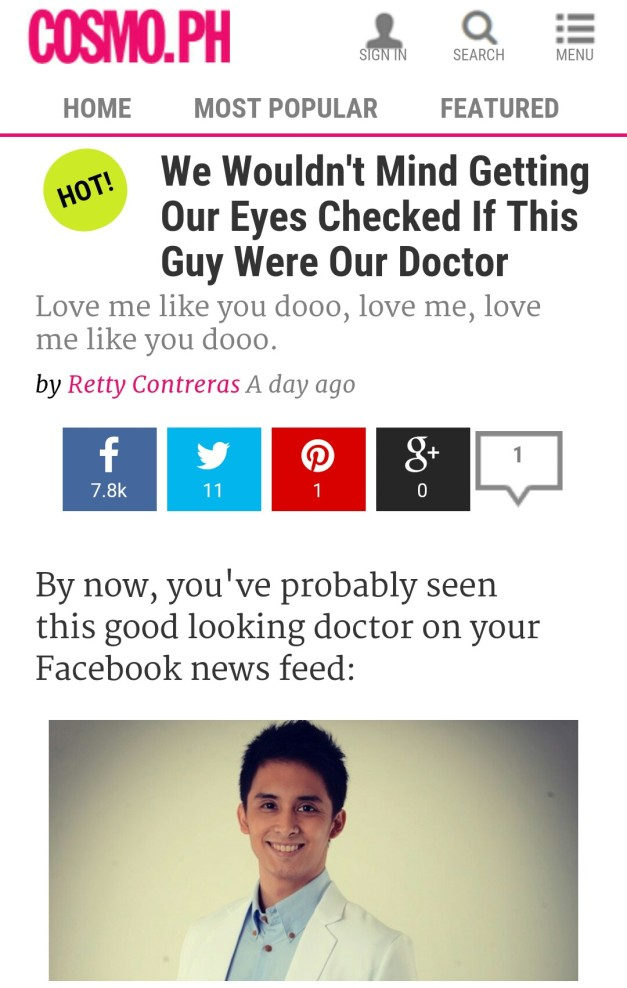 The Cosmo article that increased awareness of Dr. Mark Agas even more.