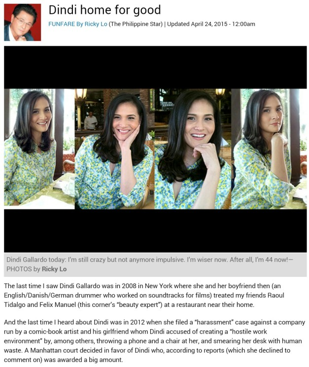 A screenshot of Ricky Lo's article on Funfare about the return of Dindi Gallardo. Click above to read the whole write-up.