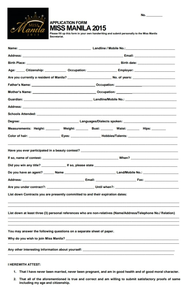 Click above to download the application form for Miss Manila 2015
