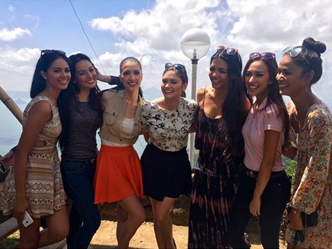 Left to right: Janicel, Rogelie, Kim, Pia, Christi, Hannah and Ann do a quick Tagaytay trip. (Photo credit: Pia Wurtzbach)