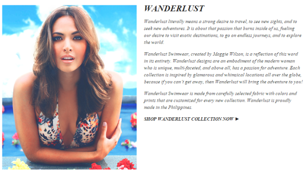 Bb. Pilipinas 2007 Maggie Wilson for Wanderlust. Click above to view the collection or purchase one online