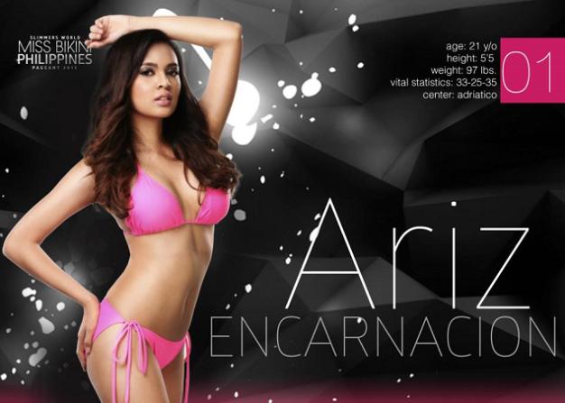 Candidate No. 1 in Miss Bikini Philippines 2015 is Alyssa Mariz Encarnacion. Call her Ariz for short.
