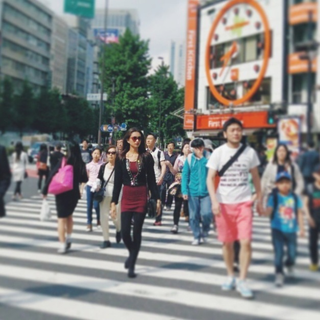 Bb. Pilipinas Supranational 2014 Yvethe Santiago walking the streets of Shinjuku in Tokyo