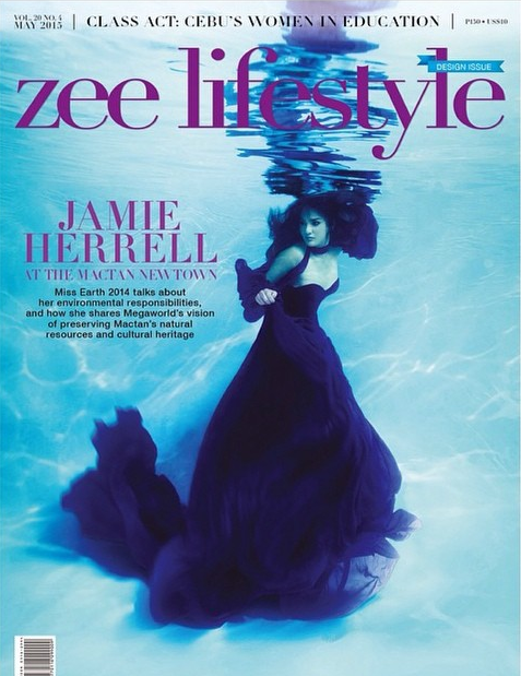 Miss Philippines Earth 2014 and Miss Earth 2014 Jamie Herrell on the May 2015 cover of Zee Lifestyle Magazine