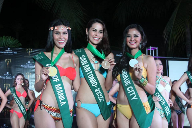 The Swimsuit Competition winners of MPE2015 (left to right): Miss City of Manila Angelia Ong, Bronze; Miss San Antonio, Nueva Ecija Chanel Olive Thomas, Gold; Mhon Theress Menaling, Mandaue City, Silver