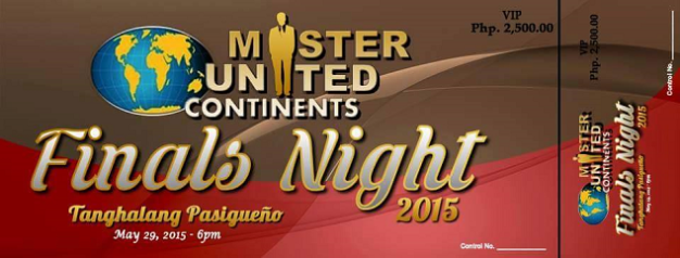 The finals of Mister United Continents 2015 will happen on May 29 at Tanghalang Pasigueno