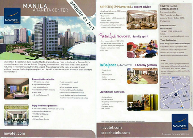 Located in the business and leisure district of Quezon City, Novotel Manila Araneta Center has direct access to LRT and MRT Stations, Gateway Mall and Smart Araneta Center. Inspired by chic and contemporary design, the hotel has 401 stylish rooms and suites, an All Day Dining Restaurant, Pool and Lounge Bar, Executive Lounge, outdoor Bridal Garden, pillarless Grand Ballroom and 7 meeting rooms.