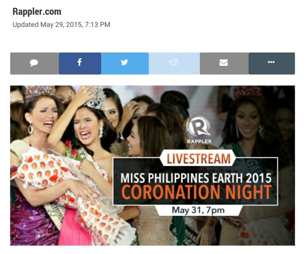 Rappler will live stream the Miss Philippines Earth 2015 Finals tonight. You can click above to go to the site.