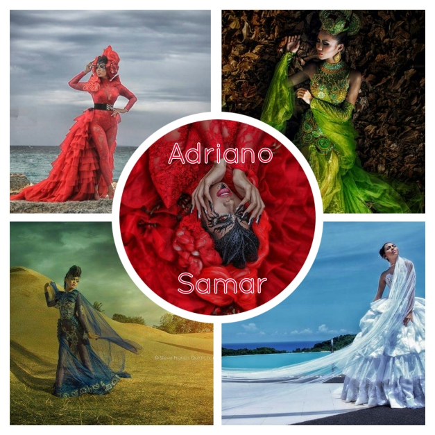 A photo collage of some of Adriano's designs