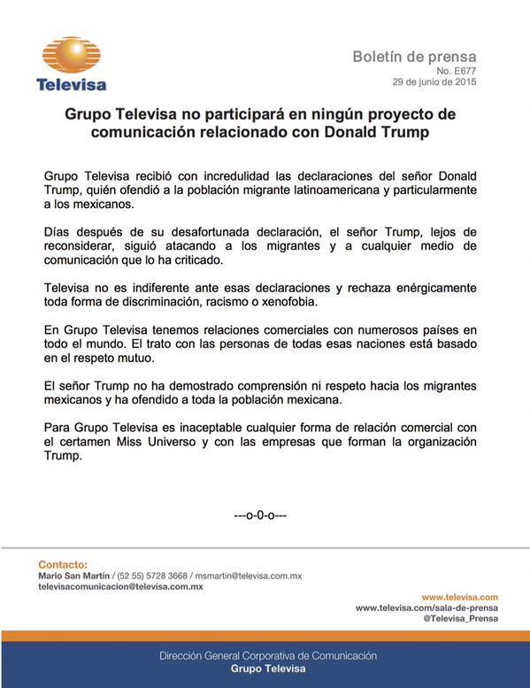 Televisa makes it official for Mexico's non-participation in Miss Universe