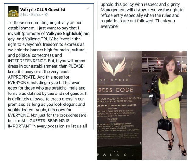 Valkyrie's statement on the Trixie and Veejay incident. Photo on the right shows what Trixie wore the night she made the attempt to enter the said club. Click to enlarge.