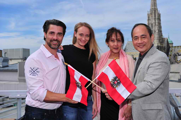 Left-to-right: Andreas Seidl, Sina Schmid, Lorraine Schuck and Ramon Monzon - the four pillars of Miss Earth 2015 in Vienna, Austria