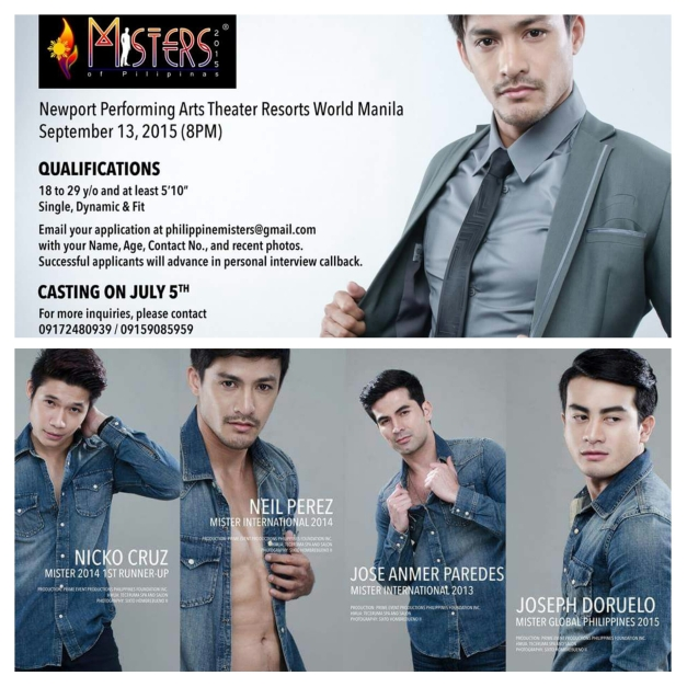 The casting for Misters of Pilipinas 2015 is ongoing. July 5 will be the screening date.