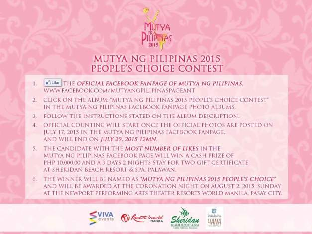 Support your favorite Mutya by liking her photo in the People's Choice Contest. Click above to check them out.