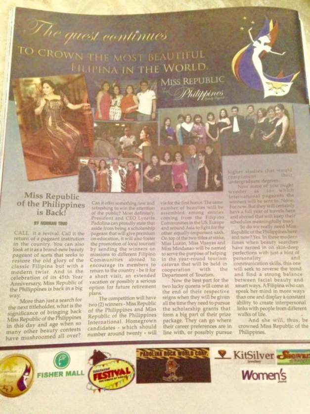Your blogger's article about Miss Republic of the Philippines in the Women's Journal Magazine