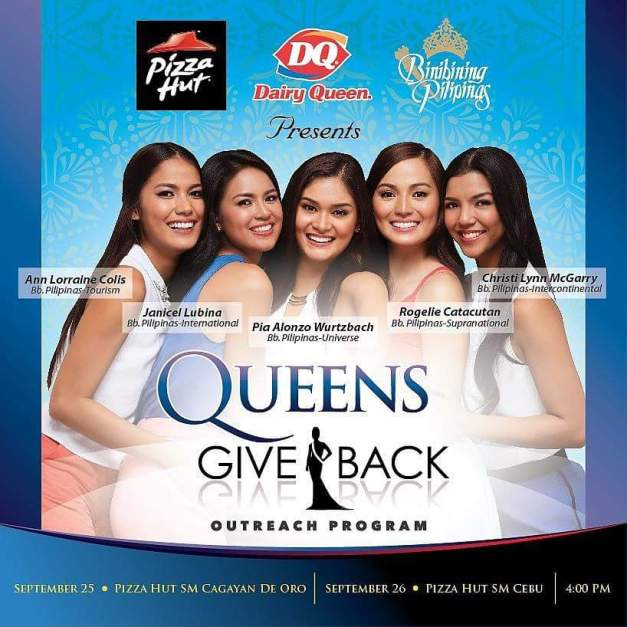 The outreach program of Bb. Pilipinas will visit Cagayan de Oro on Friday, September 25 and Cebu on Friday, September 26