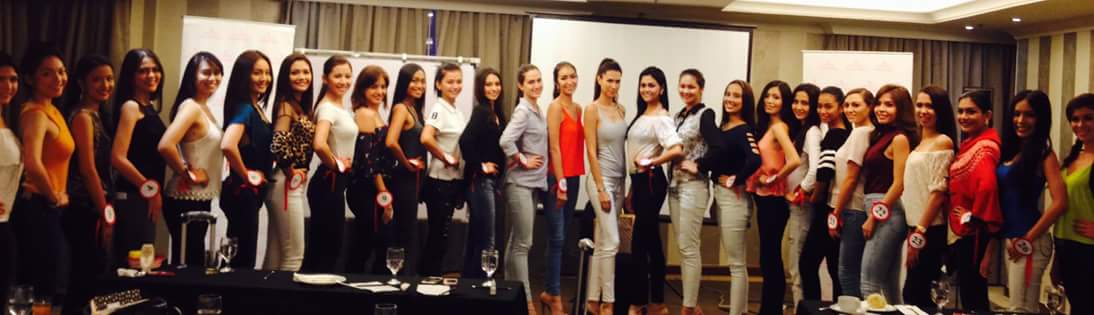 Gwen (center and tallest) poses with the Miss World Philippines 2015 Official Candidates