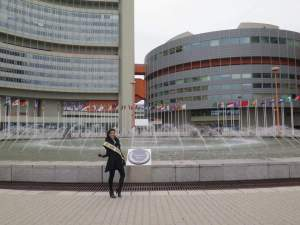 Jamie in front of the UNIDO Headquarters