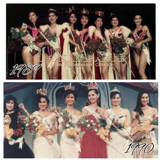 What a difference a year makes. The 1989 and 1990 Bb. Pilipinas winners (Photo credit: Townee Paat)