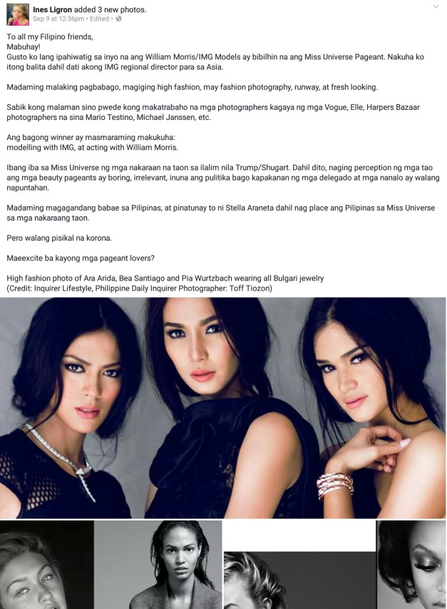 Ines Ligron's update about Miss Universe, all written in Filipino
