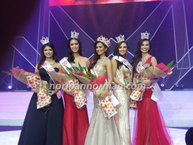 Winners all (left-to-right) : 3rd Princess Vanessa Wright, 1st Princess Cassandra Naidas, Miss World Philippines 2015 Hillarie Danielle Parungao, 2nd Princess Mia Hernandez Howell and 4th Princess Emma Tiglao