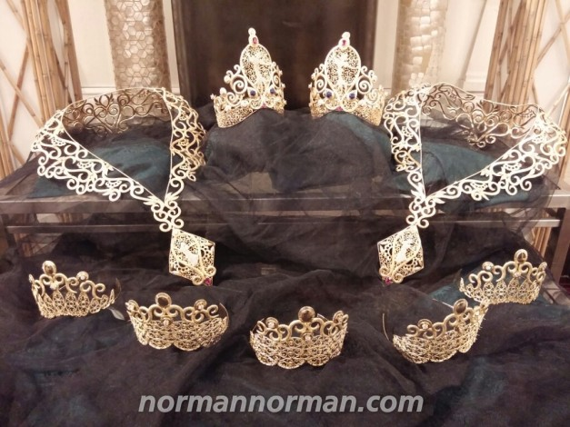 The Crowns of Miss Republic of the Philippines 2015 - all in pure Gold, including the huge neck pieces