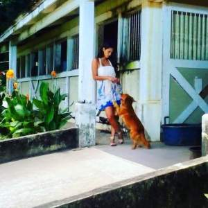 Megan as MariMar with the dog Pulgoso
