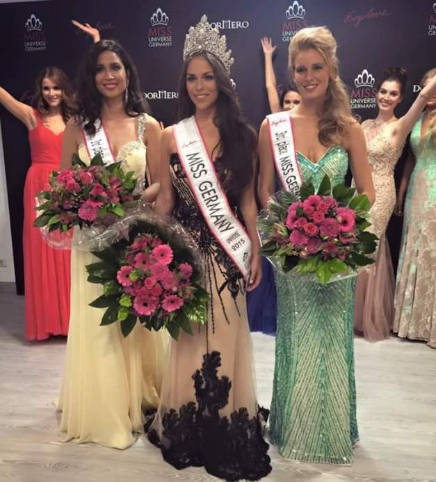 Left-to-right: 1st Runner-Up Anja-Vanessa Peter, Winner Sarah Lorraine Riek and 2nd Runner-Up Vanessa Bartels