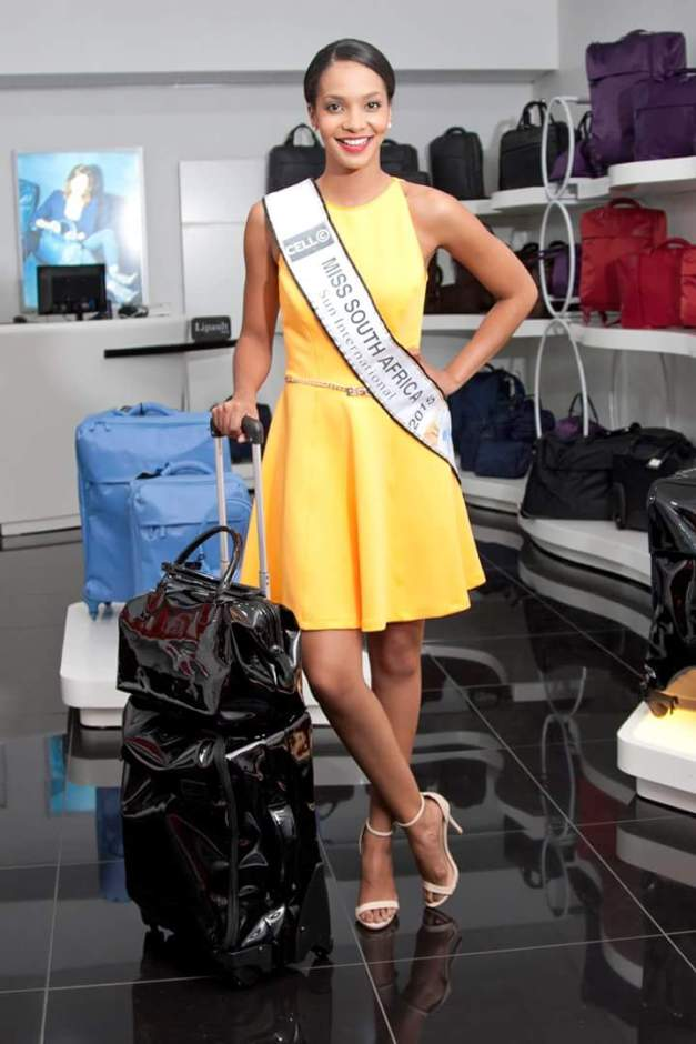 Miss South Africa Liesl Laurie for Lipault Paris which will provide her luggage and handcarry for Miss World 2015