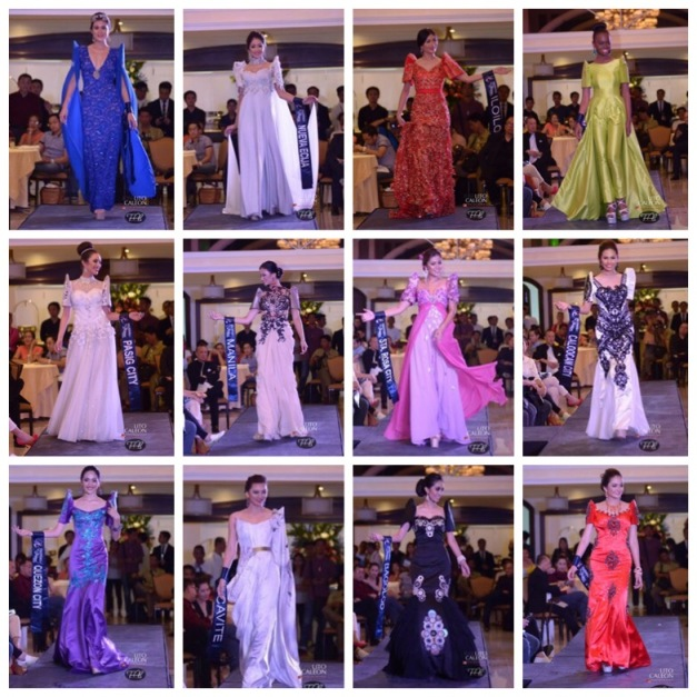 Dazzling Philippine Ternos that captivated the audience during the Evening Gown Competition of Miss Republic of the Philippines 2015 (Photo credit: Lito Caleon for Fabmanilaph)