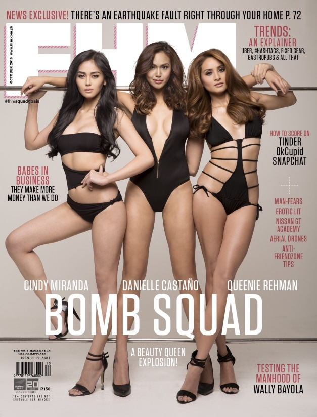 Cindy Miranda, Danielle Castano and Queenie Rehman  on the cover of the October 2015 issue of FHM Philippines