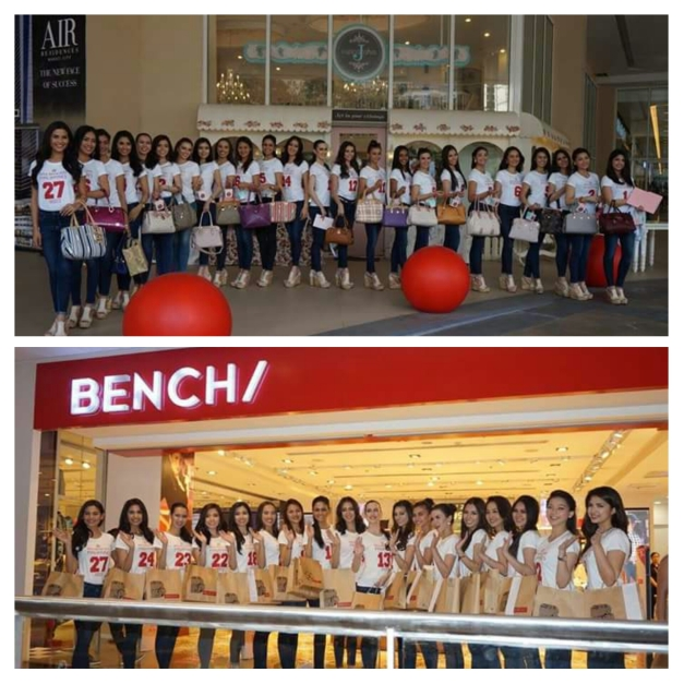 The Miss World Philippines 2015 Official Candidates pose in front of sponsors J Cuppcakes and Bench (Photo credit: Sharene Valencia Roco)