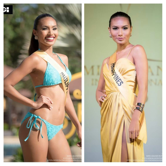 Miss Philippines Parul Shah during the swimsuit competition (left) and the Gala Dinner for Miss Grand International 2015