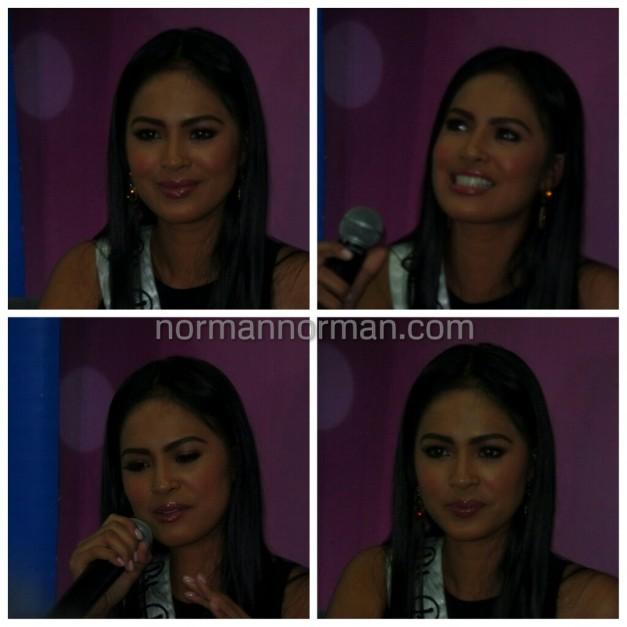 The four faces of Bb. Pilipinas International 2015 Janicel Lubina while answering questions from the Press during her send-off