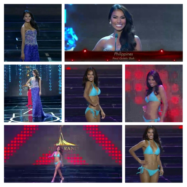 Screencaps of Miss Philippines Parul Shah during her Evening Gown and Swimsuit turns in the Miss Grand International 2015 Preliminary Competition Show
