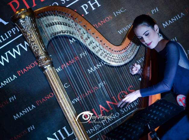 Avonlea Paraiso on the harp. She could win Talent (Photo credit: Joy Arguil)