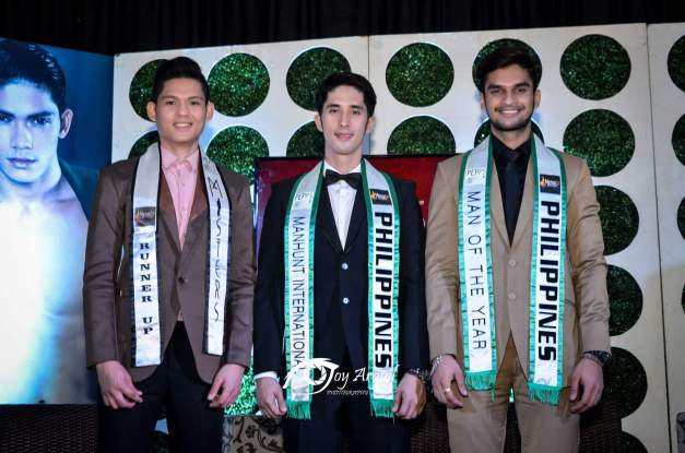 Left-to-right: new 2nd Runner-Up AR de la Serna, Mister Manhunt International Philippines 2015 Don Mcgyver Cochico and Man of the Year Philippines 2015 Karan Singhdole (Photo credit: Joy Arguil)