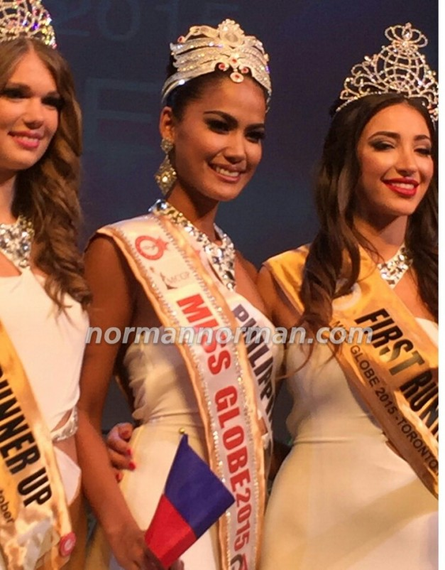 Miss Globe 2015 Ann Lorraine Colis with 1st Runner-Up Albania (right) and 2nd Runner-Up Macedonia