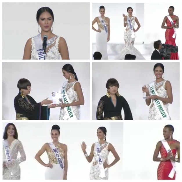 Screenshots of Miss Philippines Janicel Lubina in the Top 10 and when she received the Miss Best Dresser award of Miss International 2015